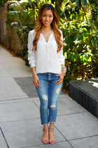 white H&M top - 7 for all mankind jeans - raelynn Steve Madden heels