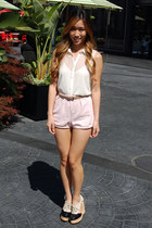 light pink American Apparel shorts - ivory pasha cami Topshop top