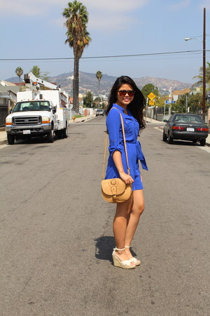blue Forever 21 dress - brown Forever 21 bag - creme Candies wedges