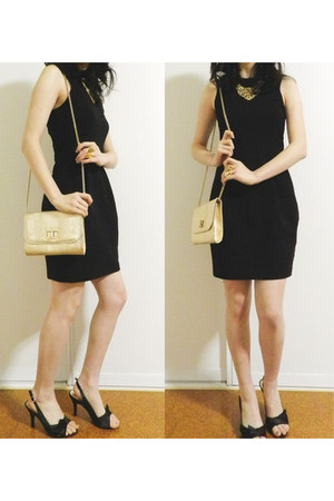 gold Lovisa ring - black Forever New dress - gold Colette bag