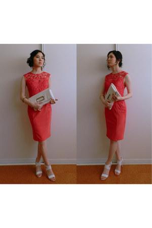 white Colette bag - hot pink Lipsy dress - white heels