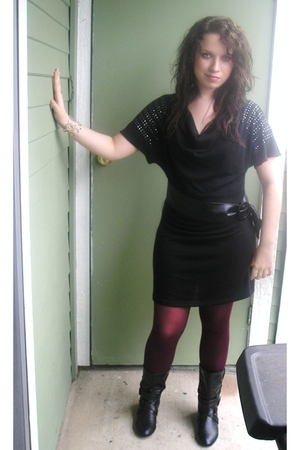 black Macys dress - Macys tights - black charming charlies boots - silver Bright