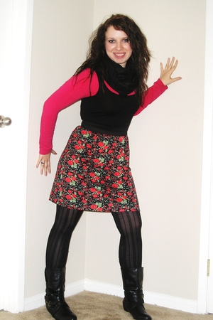 red Macys dress - black Macys leggings - black charming charlies boots - black s