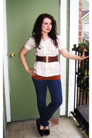 white Agaci blouse - blue Bullhead jeans - purple payless shoes - brown Agaci be