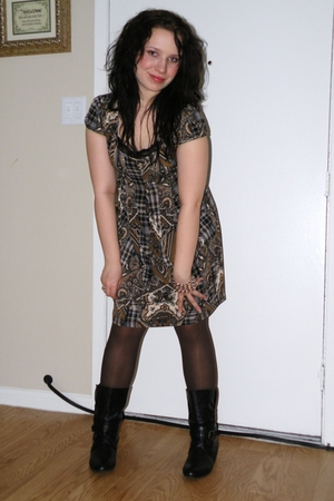 brown Macys dress - brown apt 9 tights - black charming charlies boots - silver
