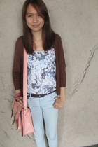 brown cardigan - light blue skinny Topshop jeans