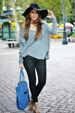 silver brandy melville sweater - black Zara jeans