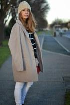 tan Primark coat - navy chicnova sweater