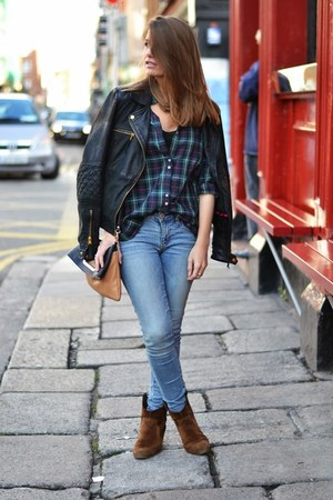 green Zara shirt - blue American Eagle jeans