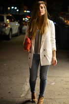 white Urban Outfitters blazer - blue American Eagle jeans