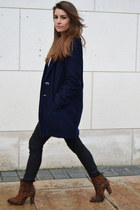 dark brown Zara boots - navy Penneys coat - black Zara pants