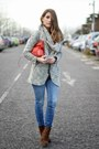 Blue-zara-jeans-heather-gray-stradivarius-blazer