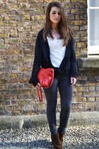 red Zara bag - charcoal gray Topshop pants
