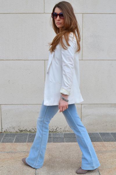 white pull&bear blazer - sky blue Mango jeans