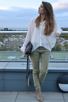 ivory Forever 21 blouse - olive green pull&bear jeans