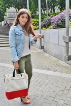 red Lodinatt bag - olive green pull&bear jeans - cream Zara top