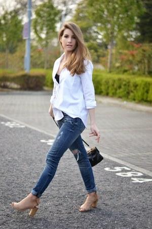 white Zara shirt - navy Zara jeans