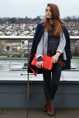 navy Penneys coat - red Zara bag - black Zara pants