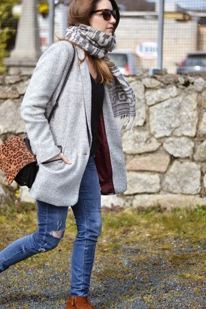 heather gray pull&bear coat