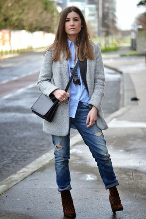 silver pull&bear coat - black tidebuy bag