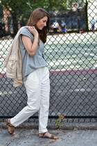 white Forever 21 pants - periwinkle Forever 21 t-shirt
