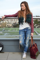 brick red Zara jacket - blue Zara jeans - ruby red Lodinatt bag