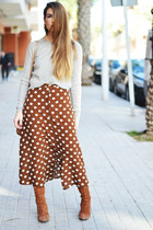 burnt orange Mango skirt