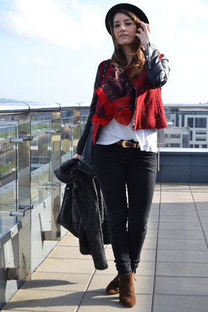 brown Zara boots - black H&M hat - ruby red Pull & Beat jacket