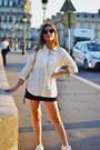 Light-yellow-uniqlo-shirt-navy-zara-skirt