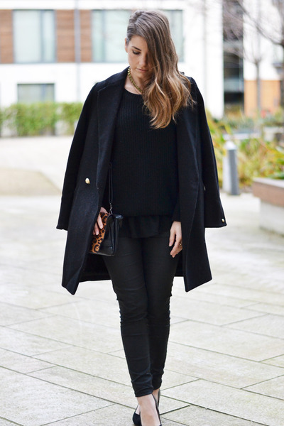 black Topshop shoes - navy Forever 21 sweater