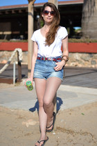 sky blue Zara shorts - white Stradivarius t-shirt