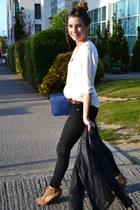 black Topshop jeans - ivory H&M blouse