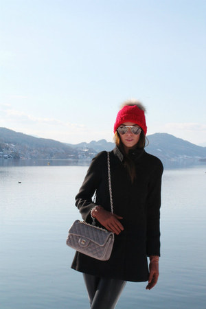 black Zara coat - red DIY hat - heather gray Chanel bag