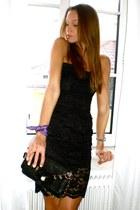 black handmade dress - amethyst Tommy Hilfiger scarf - black vintage bag