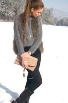 grey feathers Zara vest - Aigle boots - vintage sweater - Zara bag