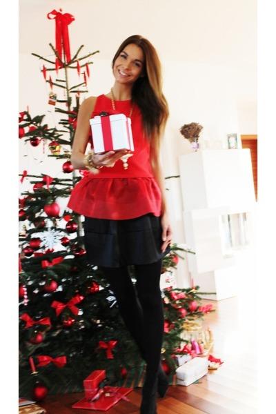 red H&M Trend top - black Valentino Red skirt - black H&M heels