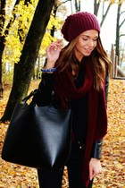 brick red Zara hat - black Zara jacket - brick red Zara scarf - black Zara bag