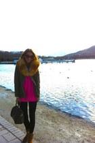 fluor pink Zara sweater - Ugg Australia boots - Custo jacket