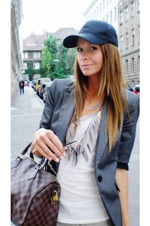 heather gray Zara blazer - black H&M hat - crimson Louis Vuitton bag