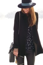 Zara coat - Zara hat - leather pants ARMA tights - vintage bag
