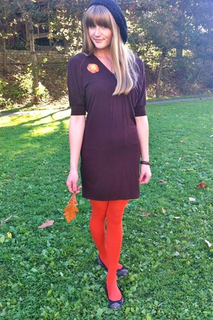 black Aldo hat - dark brown old H&M dress - black Fancy Sox tights