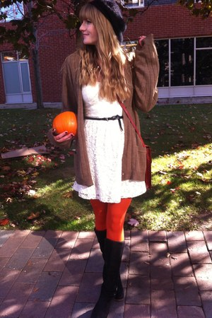brown my sisters sweater - black le chateau boots - ivory thrifted dress