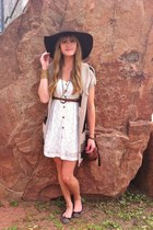 white lace thrifted dress - dark brown floppy thrifted hat