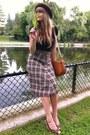 Dark-brown-wool-thrifted-skirt-black-thrifted-top