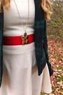 White-thrifted-dress-black-beret-thrifted-hat-navy-gap-blazer-red-diy-belt