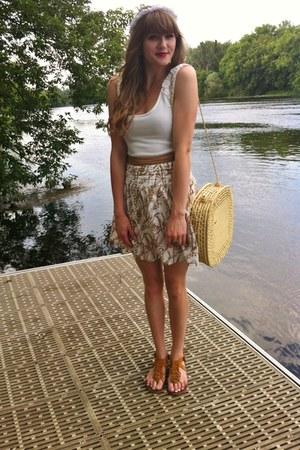 white thrifted top - tawny fringe Aldo sandals - light brown thrifted diy skirt