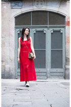 red The Box dress - cream Converse sneakers