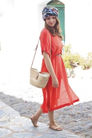 carrot orange Zara dress - blue maxi patterned Zara scarf - neutral basket bag