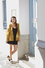 Black-short-mango-dress-mustard-kimono-vintage-blazer-black-topshop-wedges