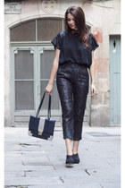 black transparency Elena Gallego blouse - black Topshop heels